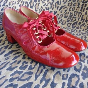 VTG 1960s Red Patent Leather Shoes US6M-6.5N